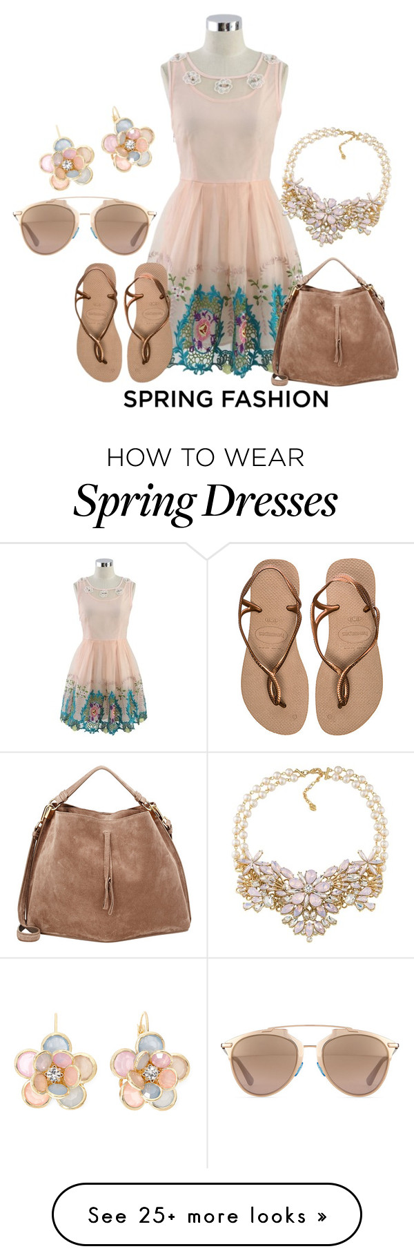 """Spring Fashion"" by pollypocket-erm on Polyvore featuring moda, Chicwish, Havaianas, Mixit, Carolee, Maison Margiela, Christian Dior, women's clothing, women e female"