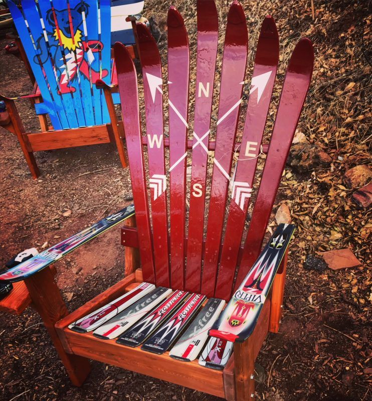 Crossed Arrows Adirondack Ski Chair Fire pit furniture