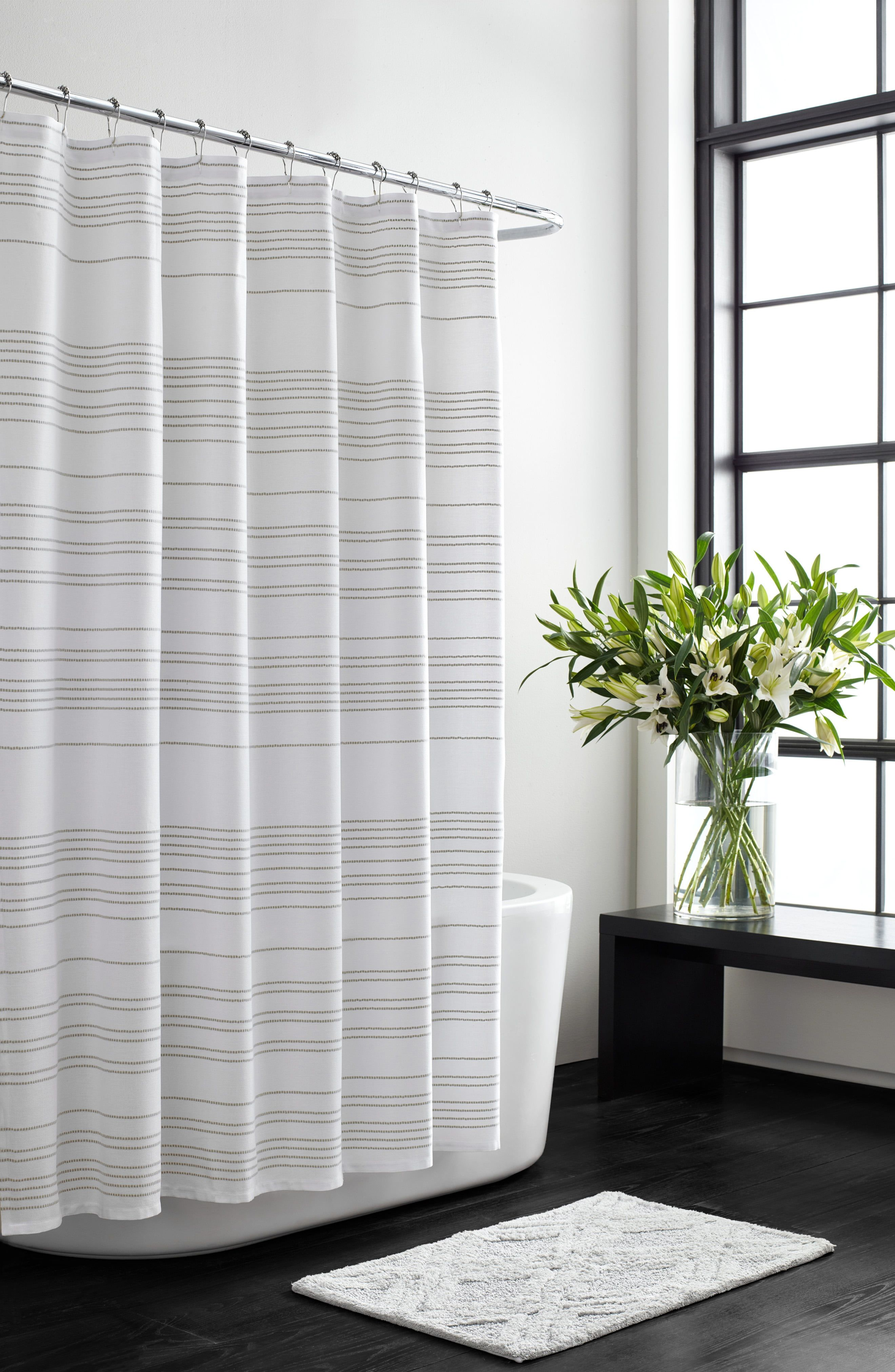 Vera Wang Embroidered Stripe Shower Curtain Size One Size White Striped Shower Curtains Cotton Shower Curtain