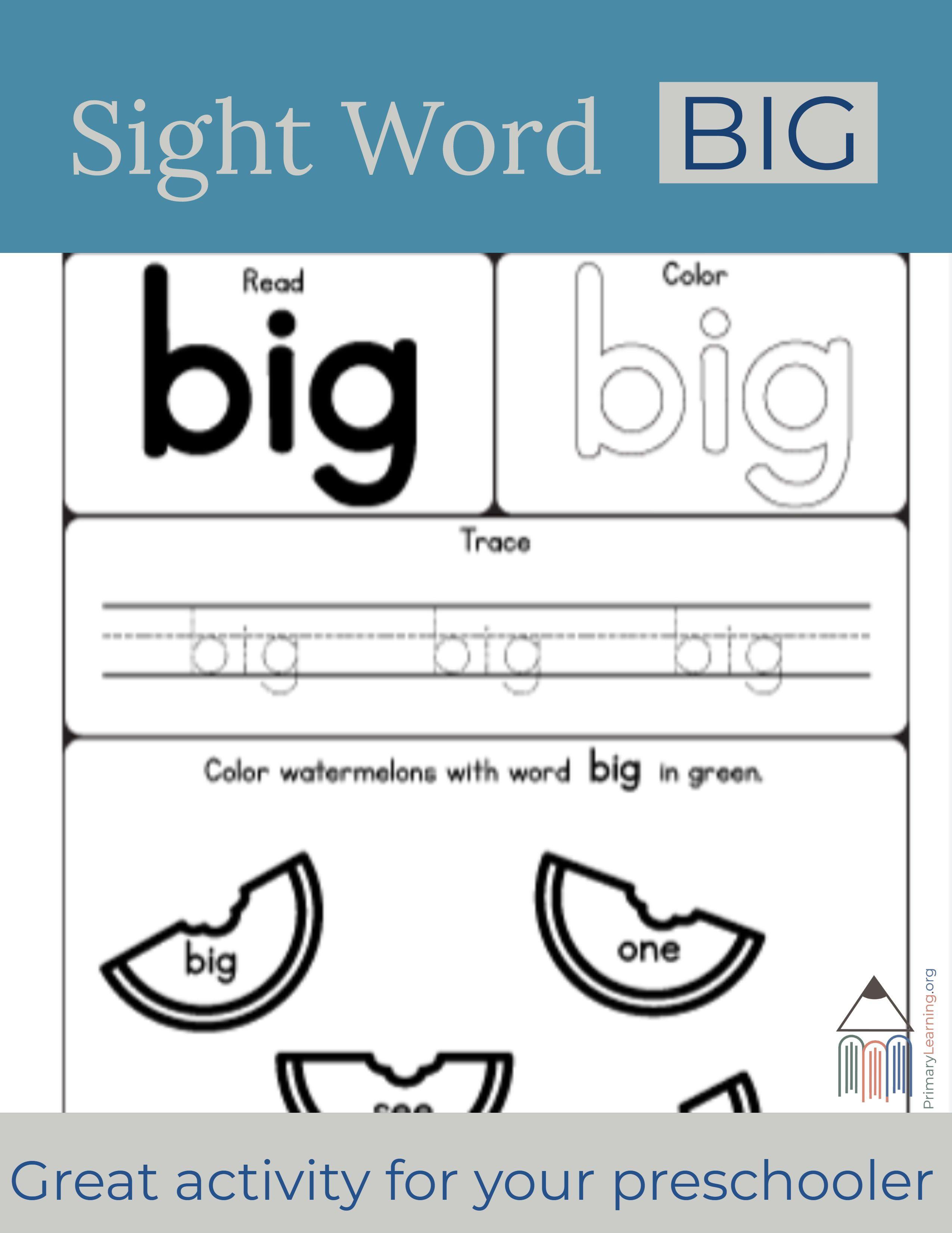Sight Word Big Worksheet