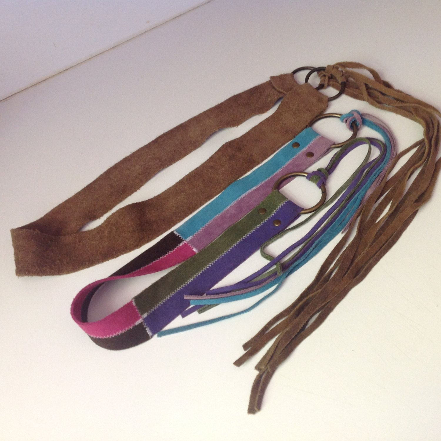 Leather tie belt - brown or multi-colored by Mywaycrochet on Etsy