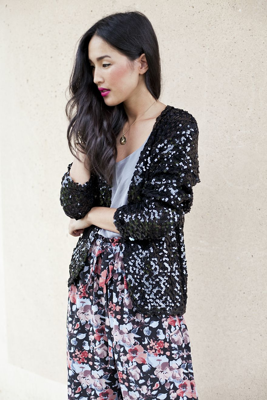 floral pants with sequin jackets