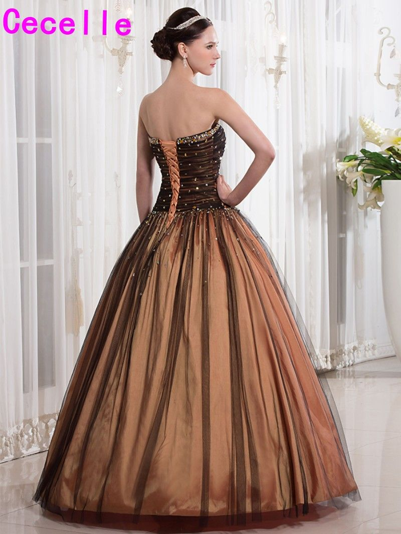 Vintage brown black colorful ball gown prom dresses sweetheart