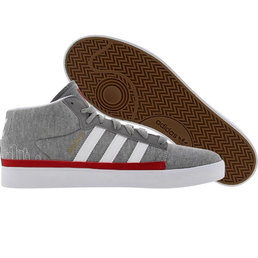 Adidas Rayado Mid shoes in medium grey heather, runninwhite, and university  red.