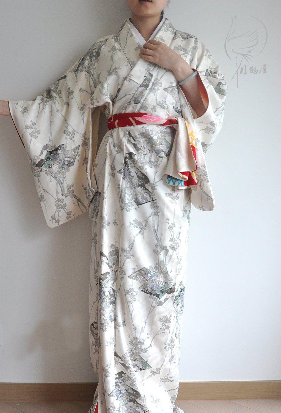 ff32f8802 Japanese white silk long kimono robe, vintage authentic floral komon maxi  kimono gown dress,