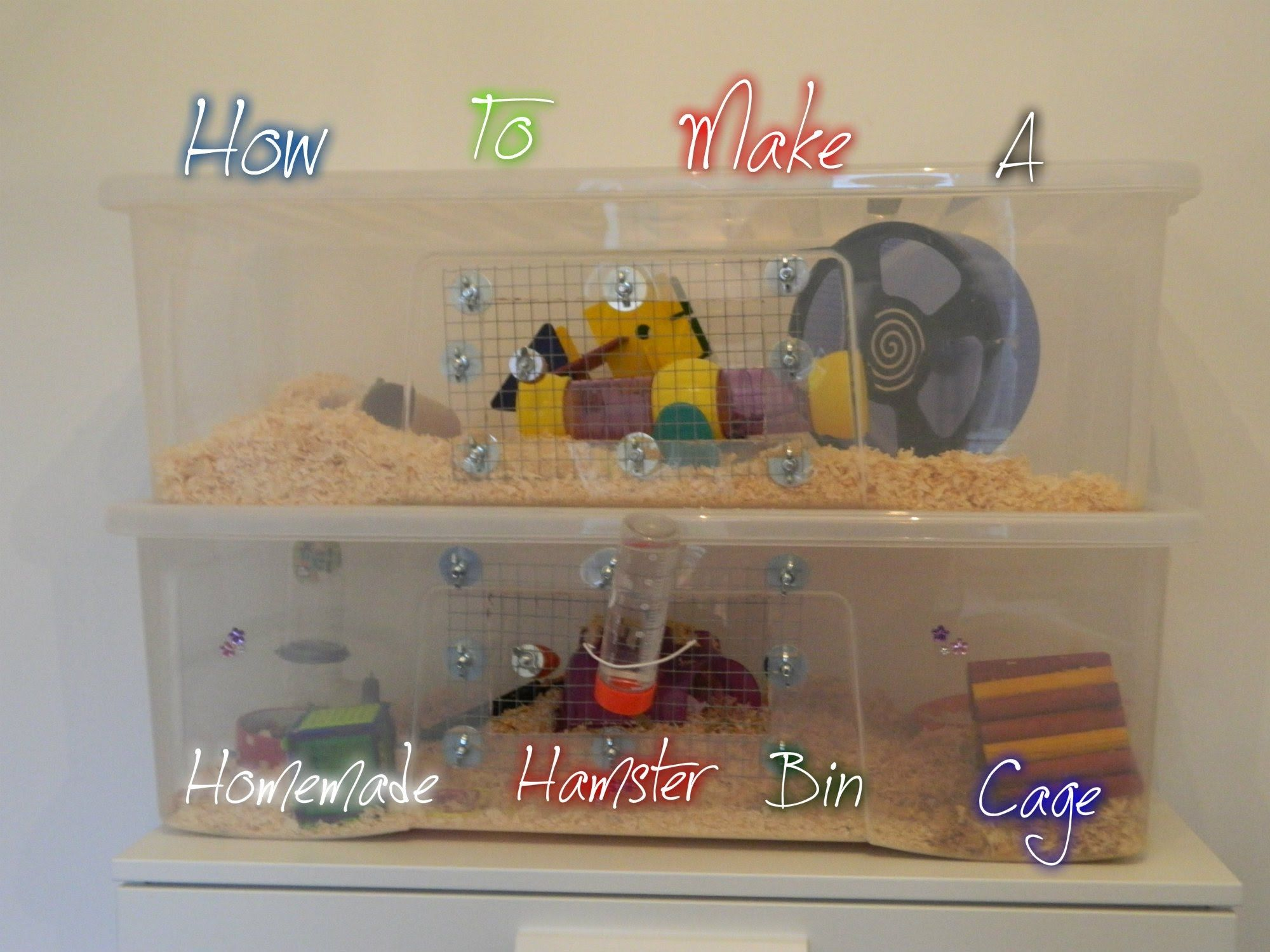 How To Make A Homemade Hamster Bin Cage Hamster Bin Cage Hamster Cages Hamster Diy Cage