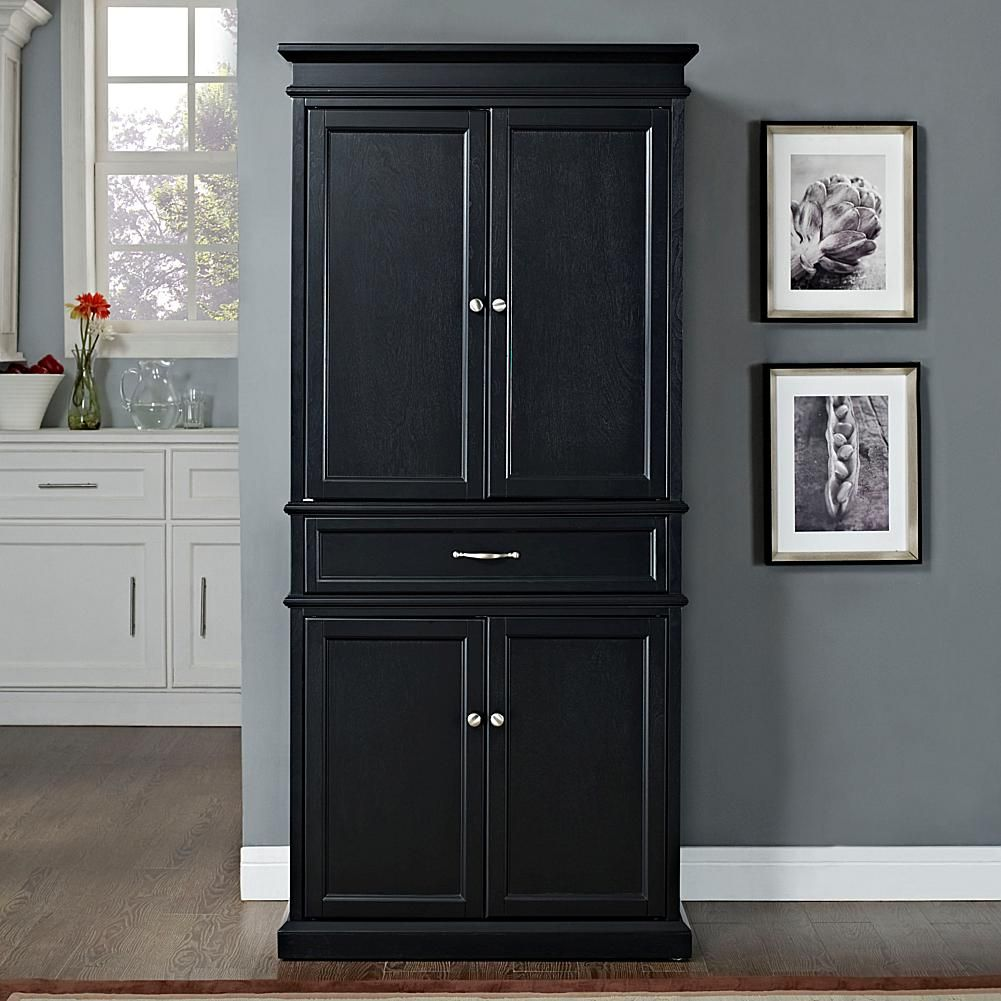 Crosley Parsons Pantry Black 7743622 Hsn In 2020 Pantry Cabinet Crosley Furniture Kitchen Cabinets Makeover
