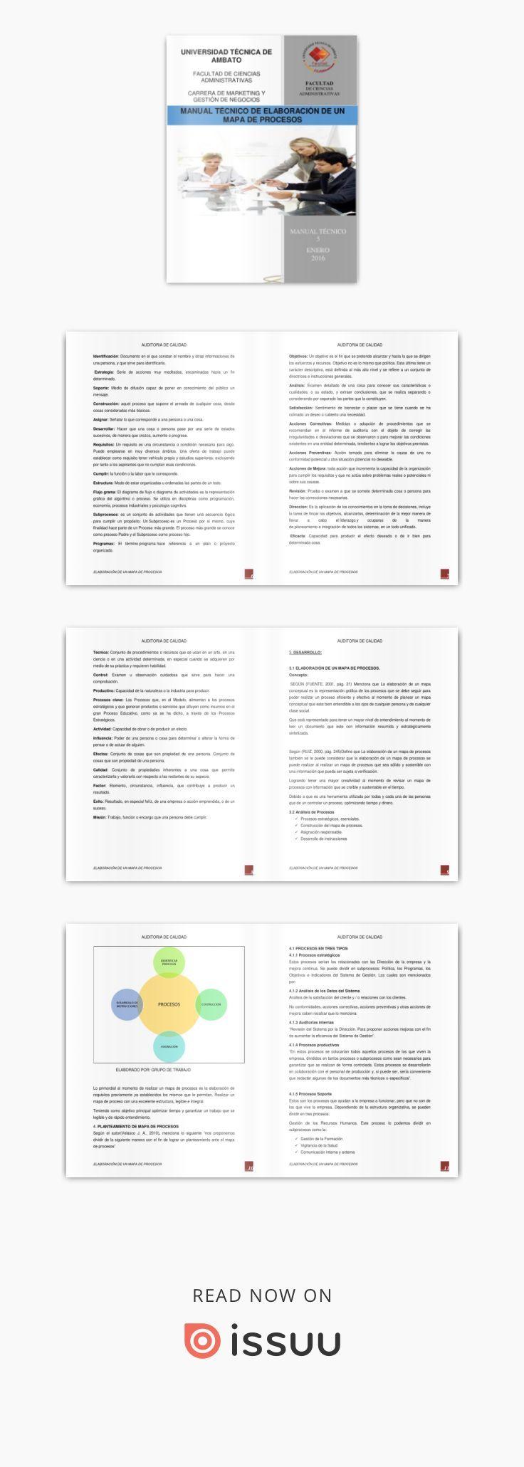 Manual técnico de elaboración de un mapa de procesos