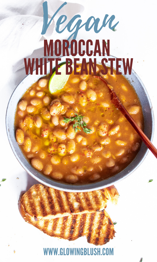 One-Pot Moroccan White Bean Stew - Loubia | Glowing Blush