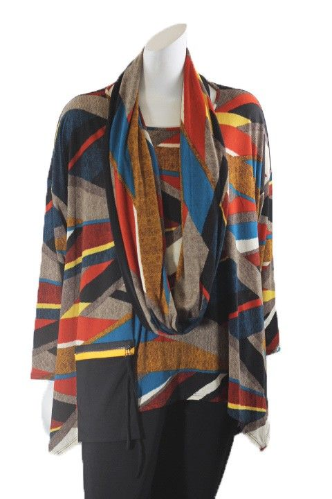 IC Collection Multi Color Print Pullover Tunic/Scarf 1769T