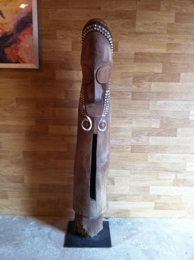 Art Tribal du Vanuatu Tambour d\u0027Ambrym sculpture bois ancien - peinture bois et fer