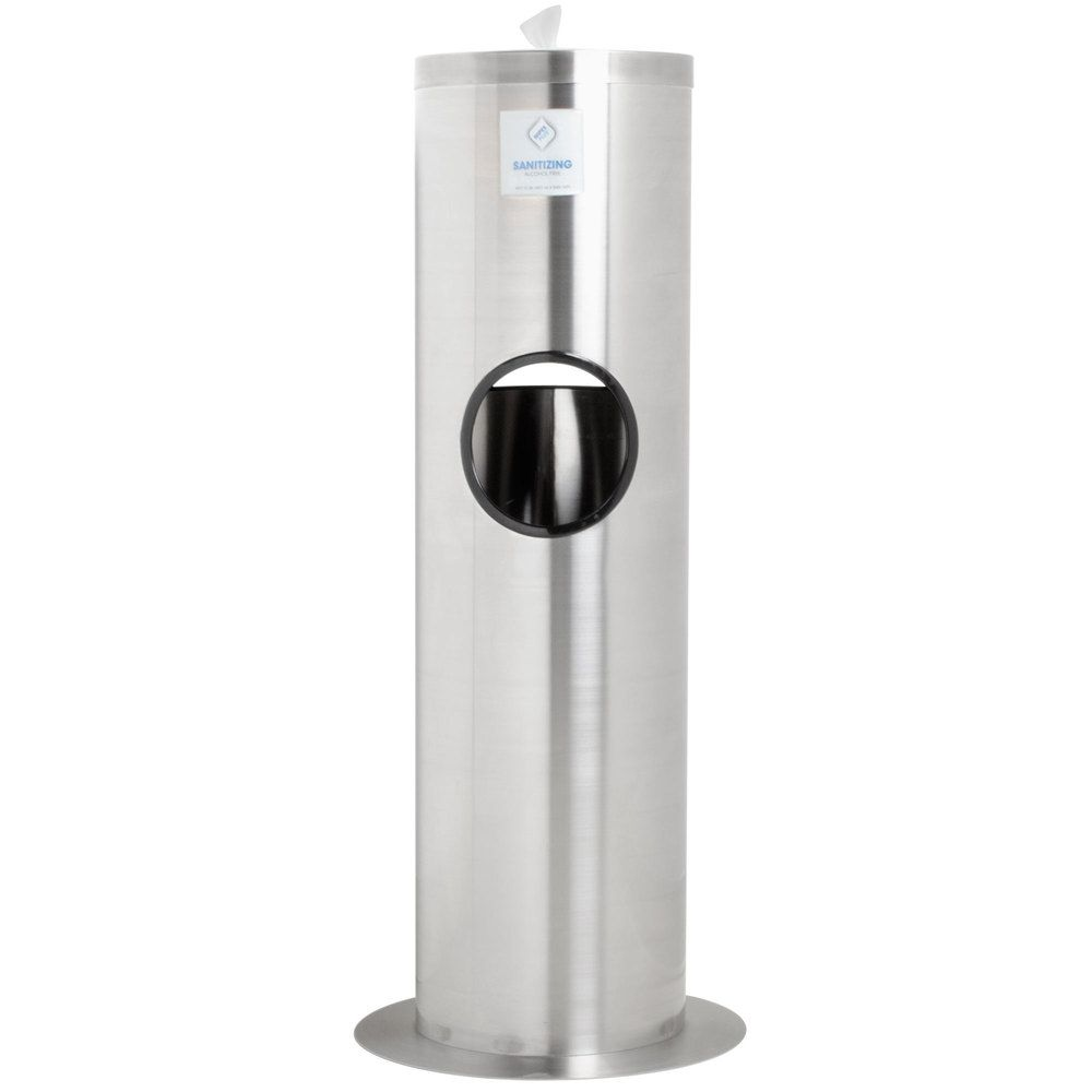 Wipesplus Stainless Steel Floor Dispenser Station With Trash Can