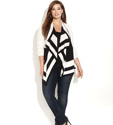 8ef2ce45b6e7 Colorblock cardigan ~ INC Plus Size Clothing - INC International Concepts -  Macy s