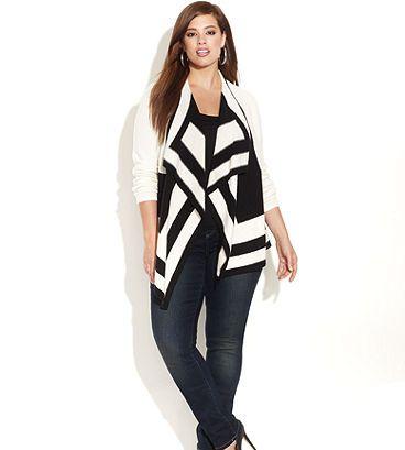 8ef2ce45b6e7 Colorblock cardigan ~ INC Plus Size Clothing - INC International Concepts -  Macy s