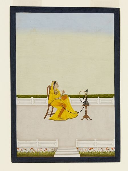 Lady With Hookah Murshidabad Style Painting Ca 1760 Ca 1764 An Indian Lady In A Yellow Semi Transparent Sar Painting Mughal Paintings History Painting