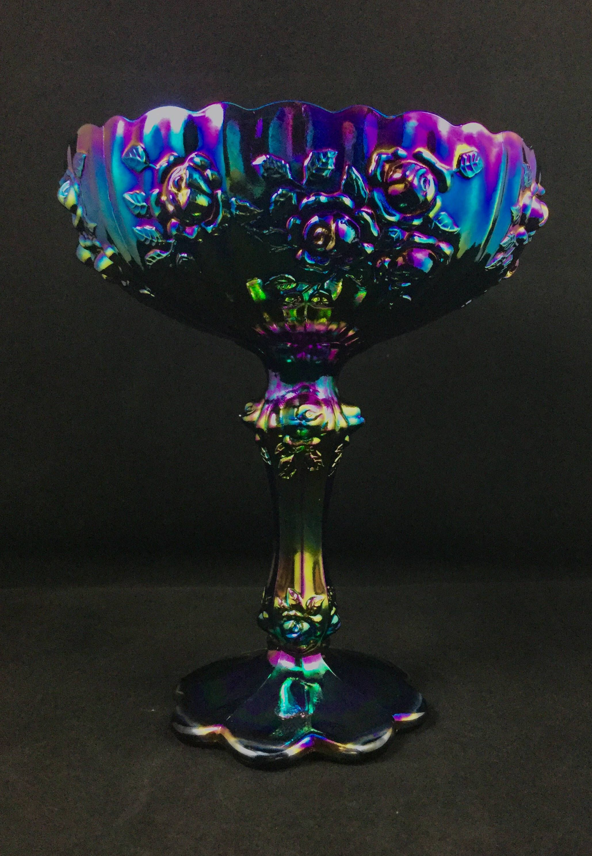 Fenton carnival glass compote purple blue irridescence with fenton carnival glass compote purple blue irridescence with amythest base rose pattern number 9222 reviewsmspy