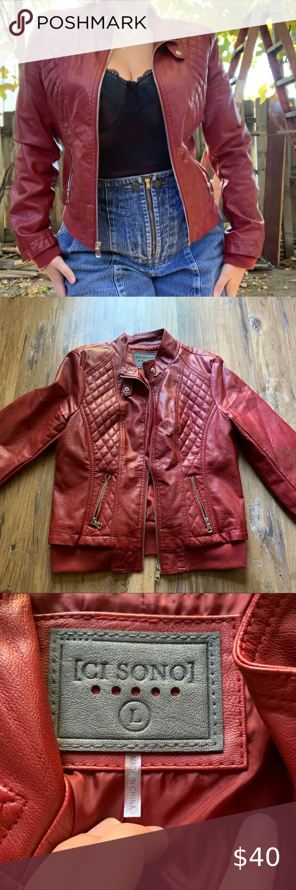 Ci Sono Faux Burgundy Leather Jacket In 2020 Burgundy Leather Jacket Leather Jacket Burgundy Leather