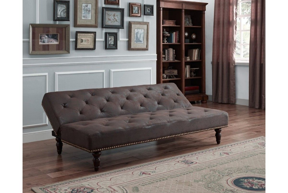Charles Brown Vintage Antique Style Faux Suede Sofa Bed