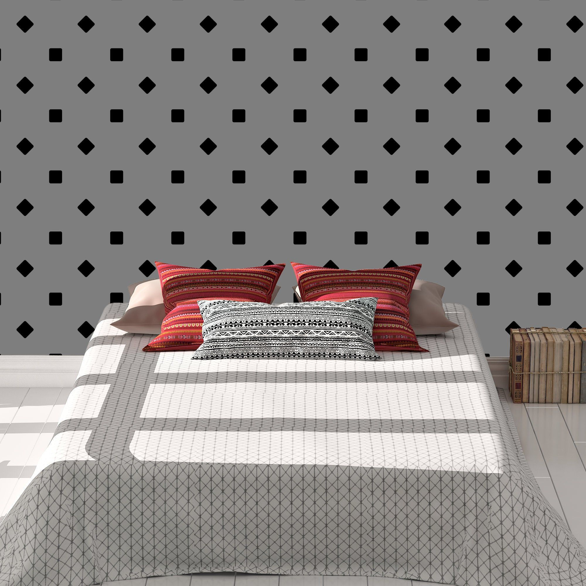 Gray Or White Solid Squares Diamonds Wallpaper Wall Decor Peel And Stick Wallpaper Removeable Repositi Wallpaper Walls Decor Wall Wallpaper Diamond Wallpaper