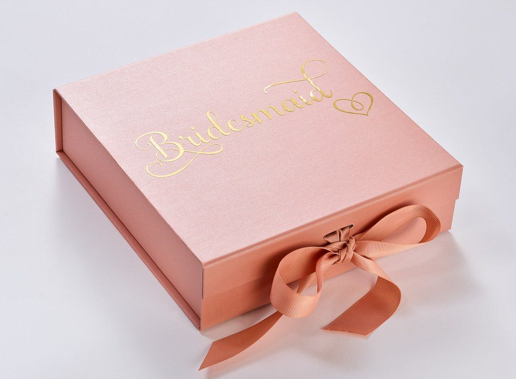 Rose Gold Medium Gift Boxes With Changeable Ribbon Box Ideas