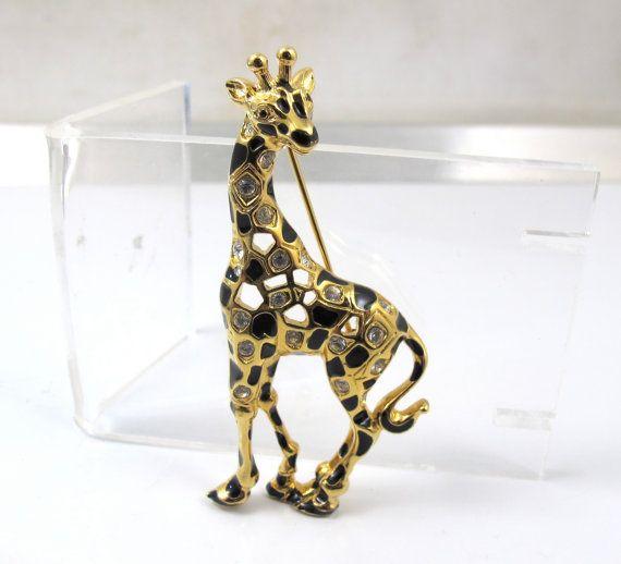 b22a026ad Signed Swarovski Giraffe Brooch, Retired Swan Logo Figural Crystal ...