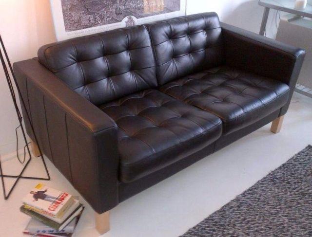 Ikea Landskrona Black Leather Two Seat