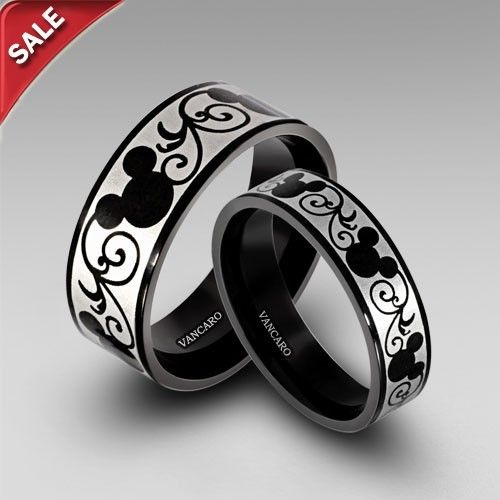 Black Mouse Printing Titanium Steel His and Hers Band Couple Rings
