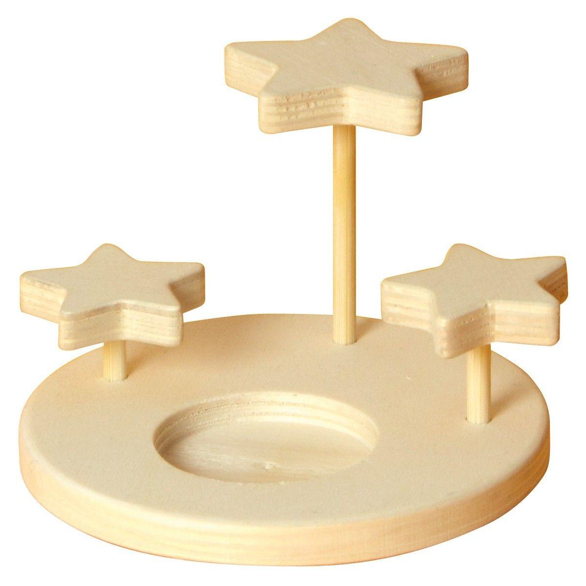 Teelichthalter mit 3D Sterne aus Holz 3er Set