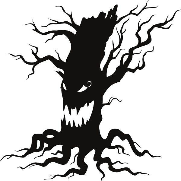 Free Halloween 2014 Clip Art Black And White Scary Tree
