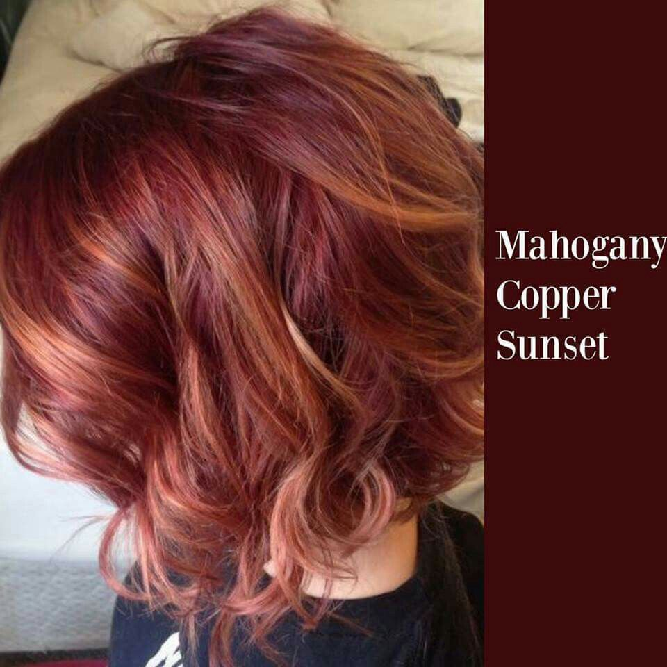 Mahogany copper sunset Bob hair color, Red blonde hair