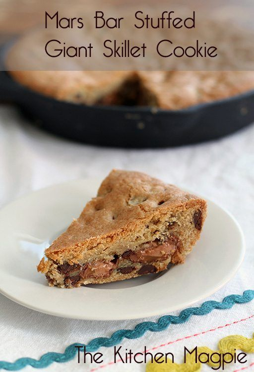 A giant skillet chocolate chip cookie recipe stuffed with little Mars bar bites…