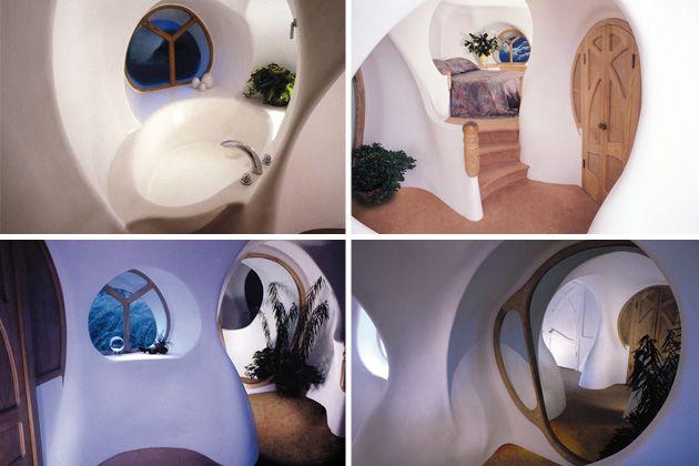 interior casa futurista y organica