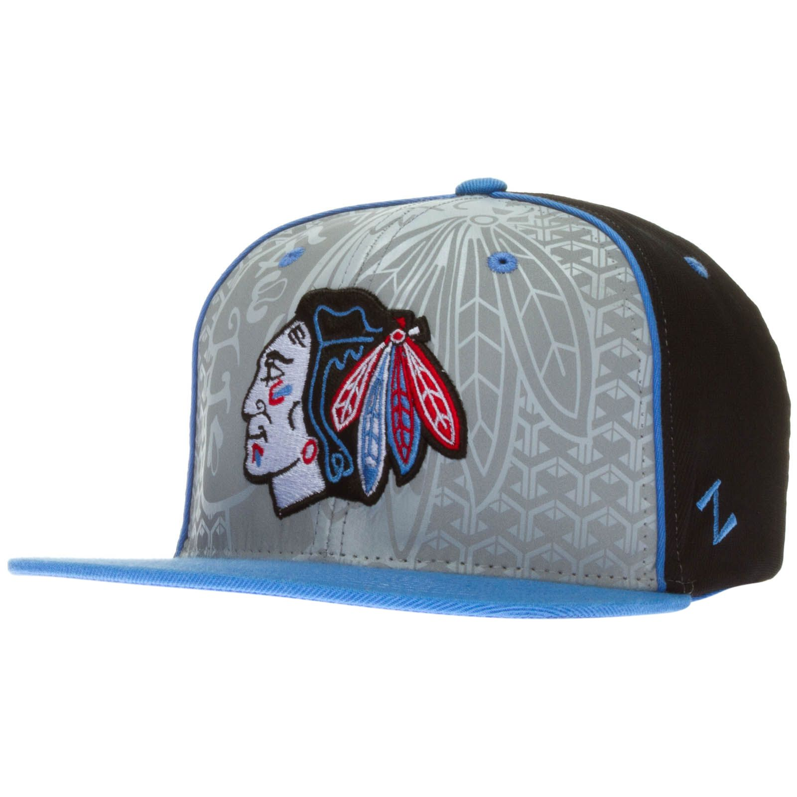 9e5e9c9781446d Chicago Blackhawks Black, Grey, and Light Blue Columbia Background Primary  Logo Snapback Hat by Zephyr #Chicago #Blackhawks #ChicagoBlackhawks