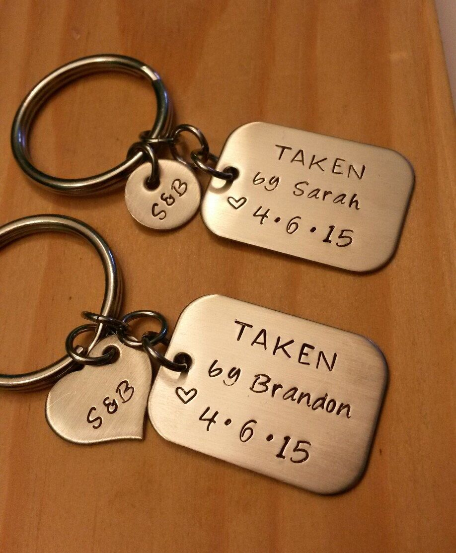 Hand Stamped Personalized Keychain Couples - Anniversary