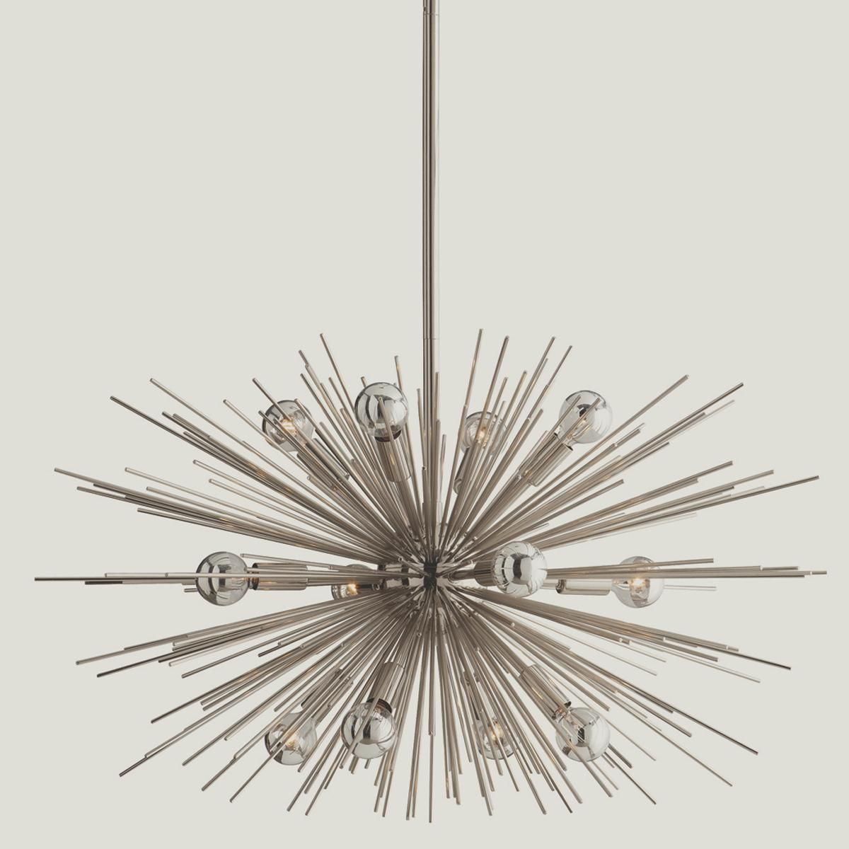 Mid century modern moonbeam chandelier 12 light midcentury with starburst rays on polished nickel or golden antique brass this 12 light contemporary chandelier adds modern or retro streams of light in the dining mozeypictures