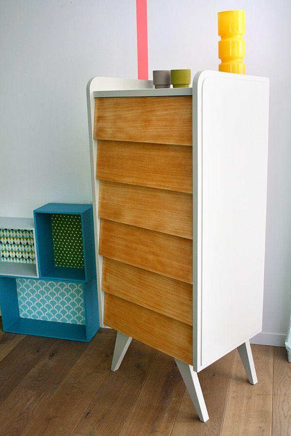 Meubles chiffonnier_vintage_pablo_2 rénovés customisation meuble - Repeindre Un Meuble En Chene