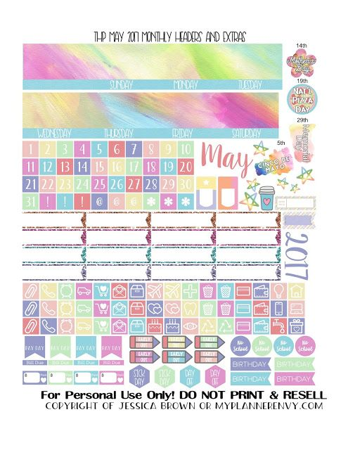 may 2017 monthly headers and extras free planner printable