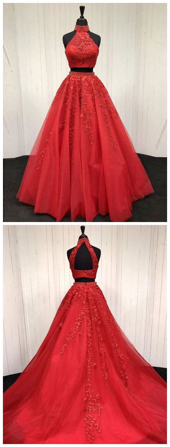 Lace appliqued two piece long red prompageant dresses prom