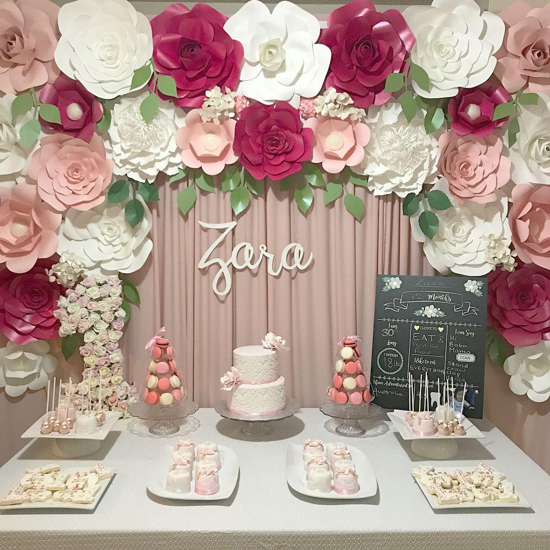 Pink paper flower backdrop dessert table ideas/decor ...