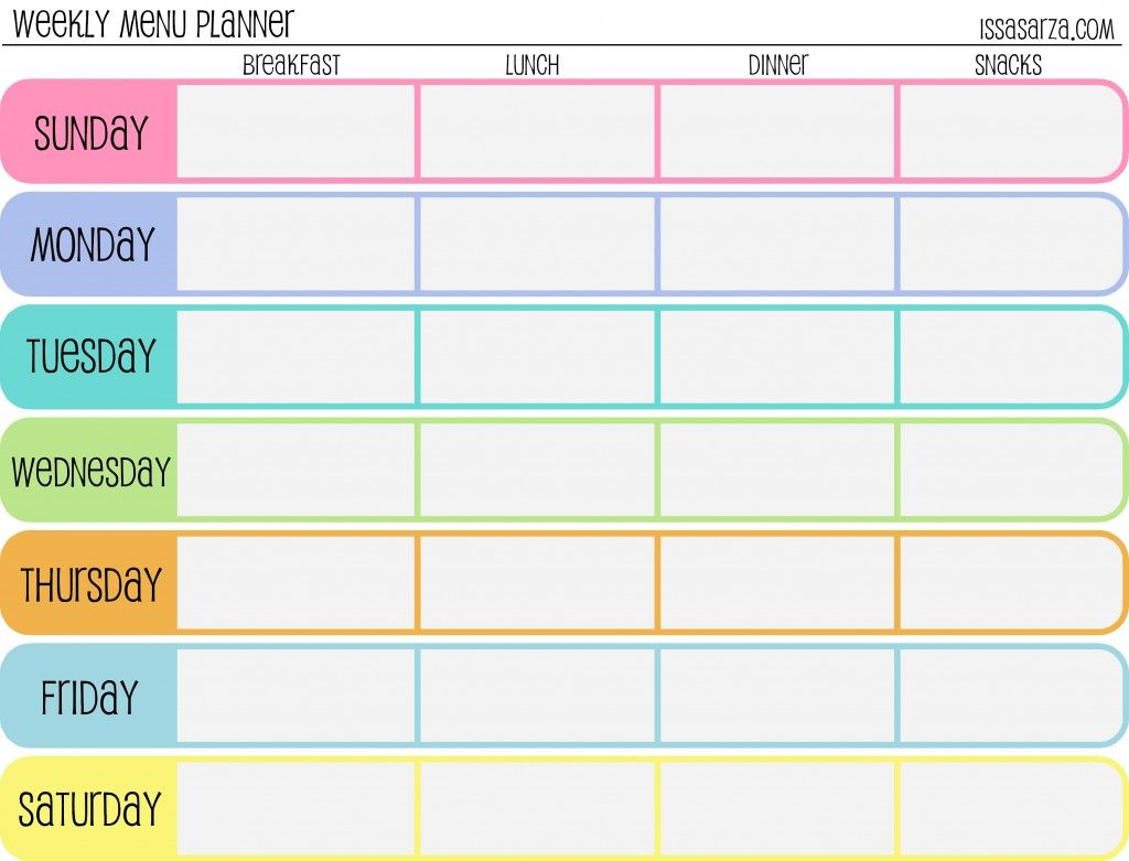 Free Printable Menu Planners - Fill in day of the week format at the ...