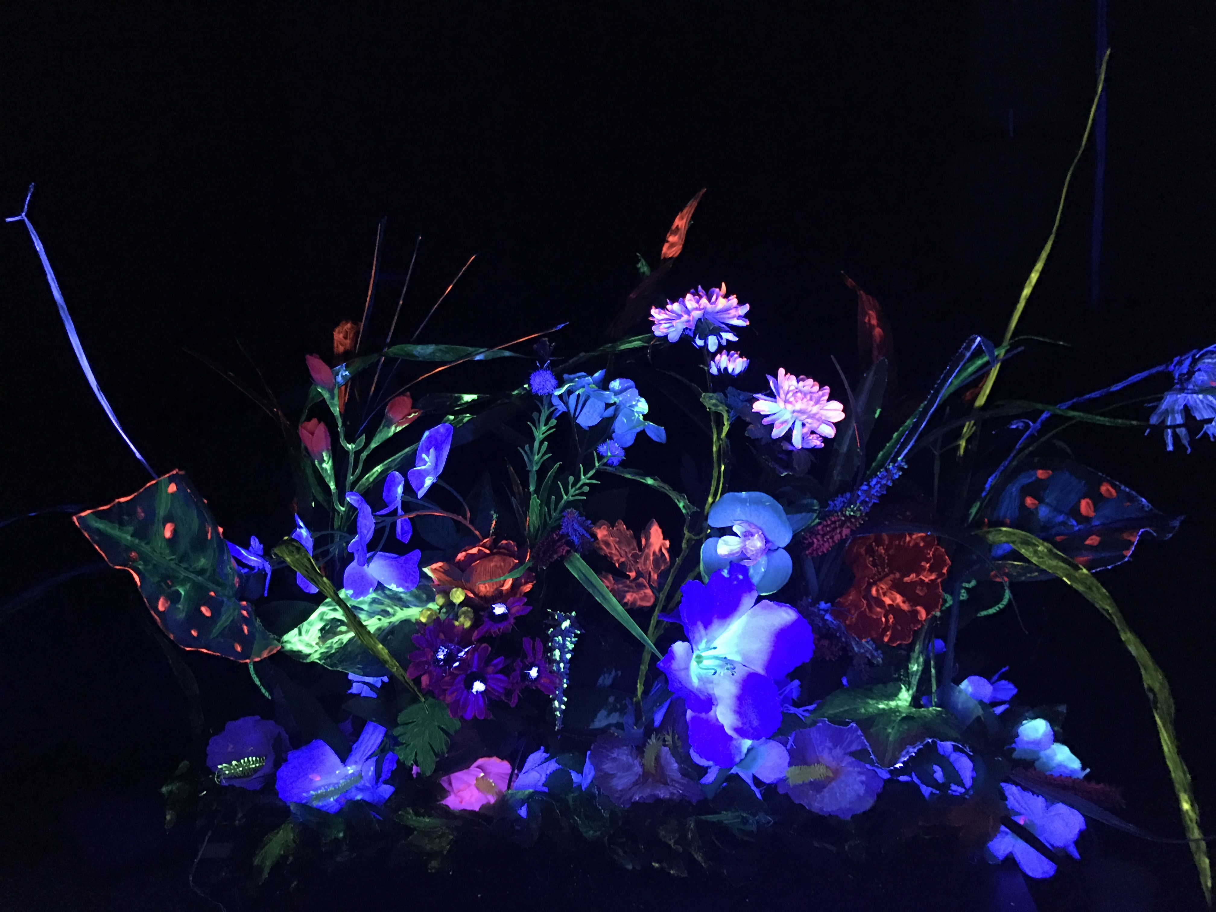 Glowing Black Light Flowers Base Is A 2 X 6 Board With Holes
