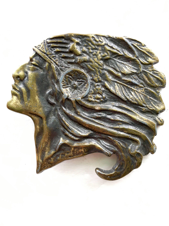 1970s Indian Head Brass Belt Buckle Vintage Native American Solid Brass  Buckle Native American Headdress Western Wear Vintage Collectible by  transmigration ... 02682e2c287