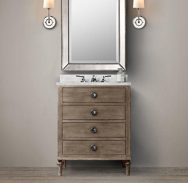 powder room vanity maison powder room vanity sink single restoration hardware powder. Black Bedroom Furniture Sets. Home Design Ideas