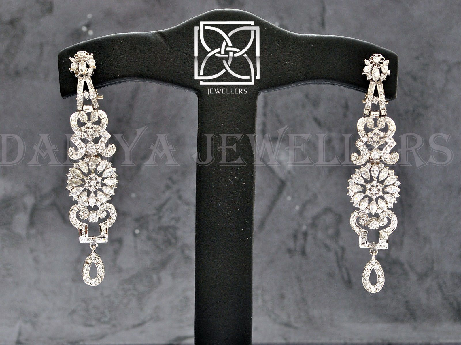 """A diamond styled chandeliers in 925 silver! She would say """"Yes"""" when find it as gift!                          https://www.facebook.com/pages/Damiya-Jewellers/289361234463272?ref=hl"""
