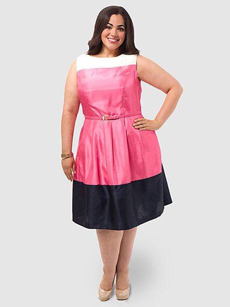 Colorblock Belted Party Dress Jessica Howard