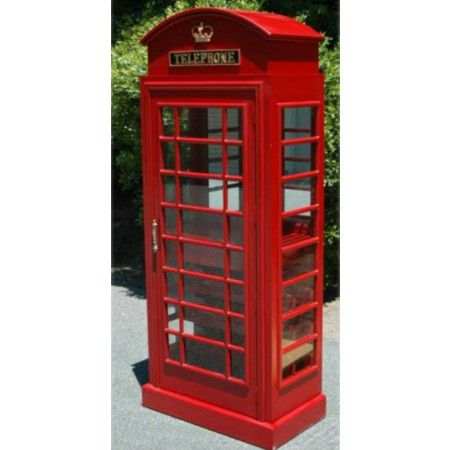 Charmant RED British PHONE Booth WOOD WINE BAR CABINET Old Cast Iron Furniture  England