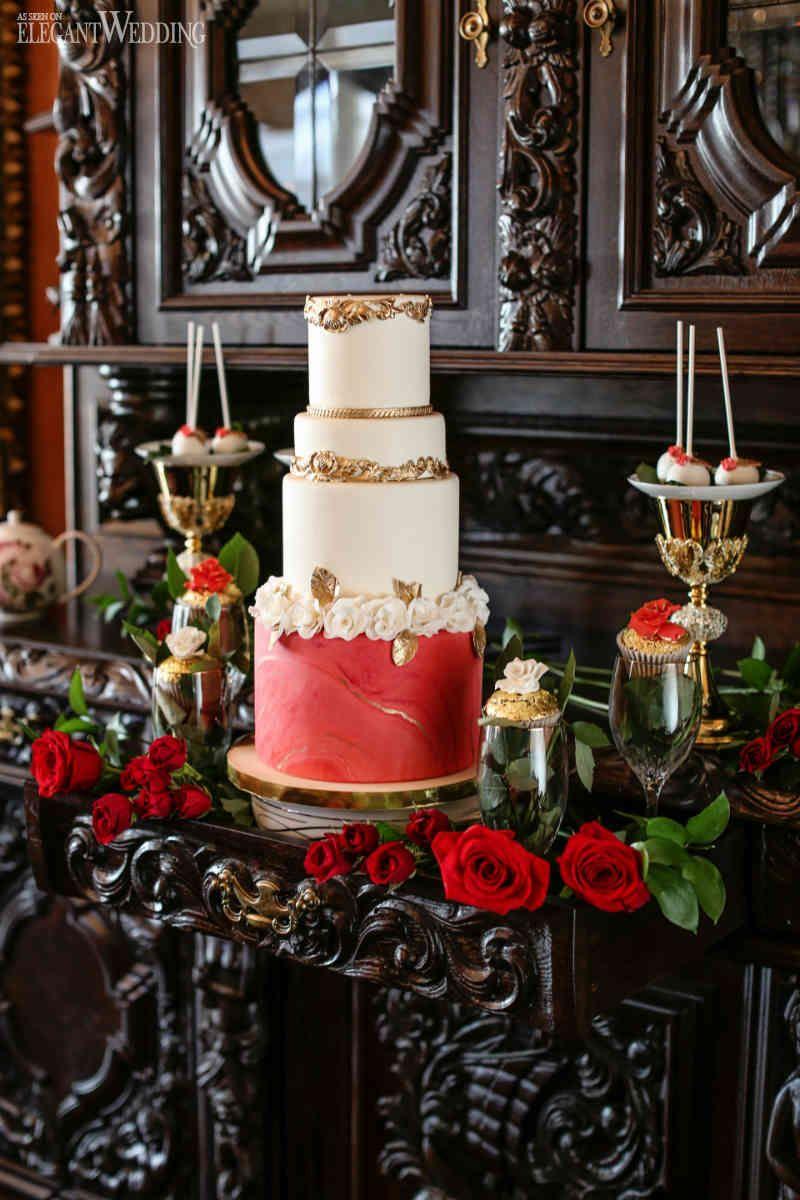 Red and gold wedding cake marble wedding cake wedding cakes