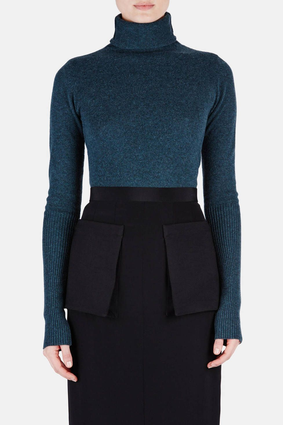 Protagonist — Sweater 08 Turtleneck Sweater With Extended Cuff Dusky Green/Blue and Skirt — THE LINE