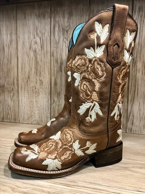 9aea9fc5164 Corral Women's Brown & White Floral Embroidery Square Toe Western ...