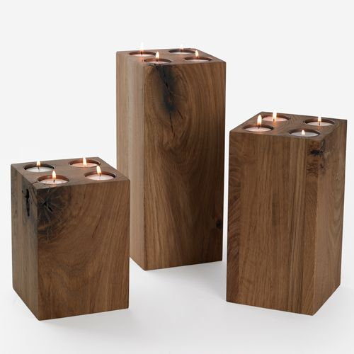 Wooden candle holders candle holders pinterest for Homemade candle holders